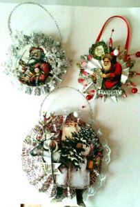 CHRISTMAS SANTA rosette hanging ornament vintage reproduction OOAK
