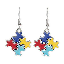 Charm Autism Awareness Puzzle Piece Rhinestone Dangle Earrings Hook Jewelry
