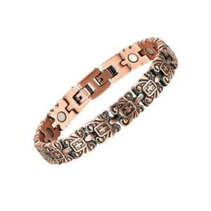 Red Copper Medical Magnets Bracelet Cross Crucifix Double Cuff Adjustable Length
