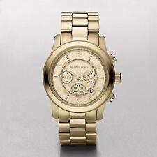 Michael Kors MK8077 RUNWAY Oversized Damen Edelstahl Gold Chronograph Datum NEU
