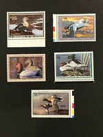 Mint Duck Stamp Collection (RW58-62) 5 Mint Never Hinged Duck Stamps Selvage +