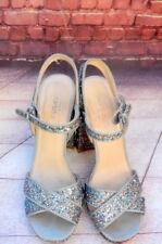 "purple pink blue glitter 5"" block heel platform strappy sandal retro disco party"