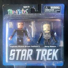 Star Trek Minimates Captain Picard & Borg Queen 2 Pack w/Loose Blister Card