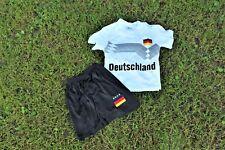 Kinder Fussball Fan Set WM EM 2018 Deutschland Trikot Shorts 74-158 Weiß Schwarz