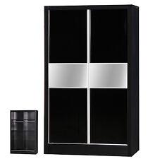 Black Gloss Wardrobe 2 Door Sliding Mirrored Cupboard Matt Bedroom Furniture