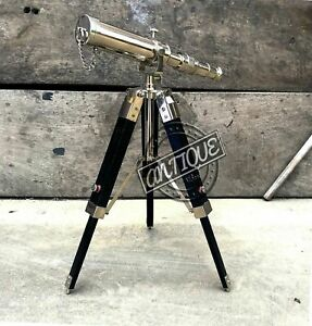 Working Antique Design Table Decor Black Tripod with Telescope Stand Silver