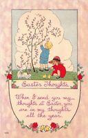 Easter Postcard Children White Bunny Rabbits Chicks Spring Garden~126993