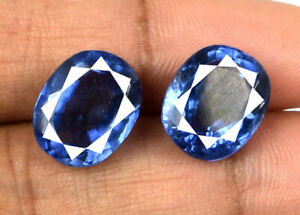 Ceylon 14-16 Ct Oval Blue Sapphire Gemstone Pair Natural VS Clarity Certified