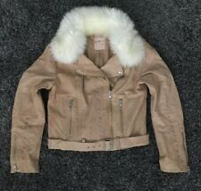 NEW Free People Shearling Collar Sheep Leather Jacket Size Large