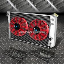 """3-Row Aluminum Radiator+2X 9"""" Fan Red For 82-02 Chevy S10/Blazer/Corvette V8"""