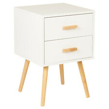 Hartleys 3 Drawer White Bedside Table Wood Legs Scandinavian Retro Bedroom Unit