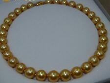 """AAAAA 17""""11-12MM NATURAL real south sea deep golden yellow pearl necklace 14K"""