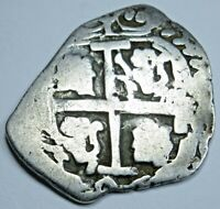 1696 Spanish Bolivia Silver 1 Reales Old Antique 1600's Colonial Pirate Cob Coin