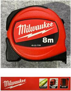 Milwaukee 8m x 25mm Retractable Compact Tape Measure Metal Blade Metric