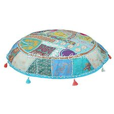 Indian Ottoman Pouf Cover Decorative Patchwork Embroidered Floor Pillow Pouf