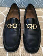 Salvatore Ferragamo Italy Horsebit Gancini Black Leather Loafer Shoes Mens 11 D