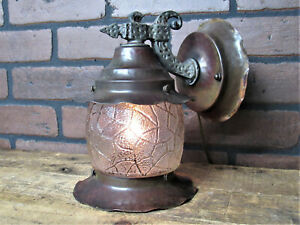 "Vintage Antique Copper Porch Light Restored Bungalow Cottage A & C Light 8.5"" T"