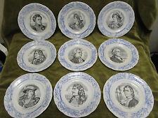 9 assiettes à dessert faience choisy le roi Marins illustres (dessert plates)