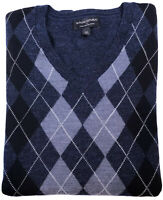 BANANA REPUBLIC Mens Merino Wool Argyle V Neck Sweater Navy Blue Size XL