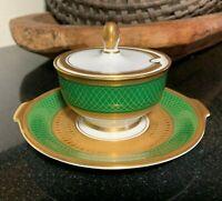 Rosenthal Aida Principessa Emerald Green w/Gold Sugar Bowl w/Underplate #3032