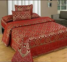 """KingSize 500TC Chenille Double Bedsheet with 2 PillowCover 90"""" X 100""""  Maroon"""