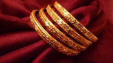 GOLD PLATED 4 BANGLES KADAS INDIAN WEDDING JEWELLERY FESTIVE MEDIUM SIZE BRIDAL