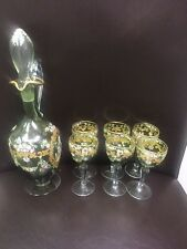 VINTAGE 7 PC SALVIATI EC. HAND PAINTED CORDIAL GLASES & DECANTER WITH GOLD TRIM