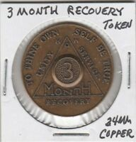(U) Token - Alcoholics Anonymous - 3 Month Recovery Token - 34 MM Copper