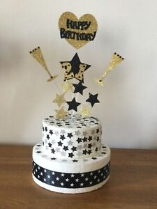 Cake Topper Decoration Happy Birthday  Champagne Flutes  25th 30th 40th Any Age