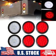 """Red & White 4"""" Round LED Trailer Tail Light Stop Turn Brake w/ Grommet for Truck"""