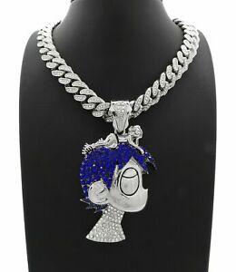 "Silver PT LIL UZI VERT Cartoon Pendant & 16"" 18"" 20"" Iced Cuban Chain Necklace"
