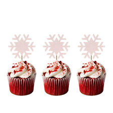 Christmas Snowflake Cupcake Toppers - Pack of 8 - Glittery White - Snowing Cake