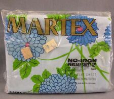 Martex Blue Floral Vintage King Flat Bed Sheet NEW Percale NOS Combed Cotton