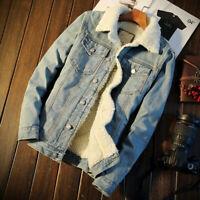 NEW Men's Fleece Lined Winter Warm Coat Trucker Denim/Jean Jacket Fur Collar 5XL