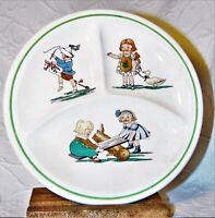 1920s C.C. Thompson divided child's transferware serving dish playing kids vguc