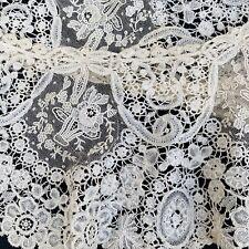 Exquisite Antique Brussels Lace Collar Point De Gaze Bouquet Handmade 19th C