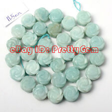 12mm Natural Coin Carved Flower Blue Amazonite Gemstone Beads Spacer Strand 15""