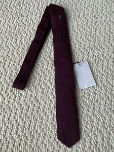 NWT Gucci Burgundy Red Embroidered Rose Flower Cashmere Knit Neck Tie $395