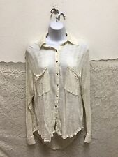 FP Beach FREE PEOPLE Size XS off White Knit Oversized Bttn Front Shirt