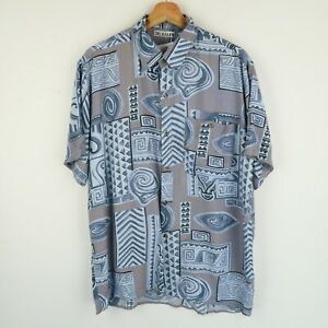 Vintage Mens 90S abstract crazy print festival shirt SIZE LARGE (E8521)