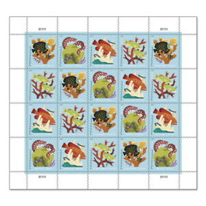 USPS New Coral Reefs Coil of 100 Postcard Stamps