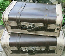 Dekokoffer 2er Set Koffer Schatulle Truhe Koffer Deko Aufbewahrungsbox Antik Sti
