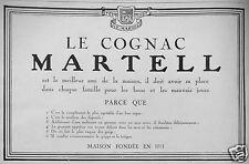 PUBLICITÉ 1927 LE COGNAC MARTELL MEILLEUR AMI DE LA MAISON - ADVERTISING