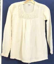 Pretty IVORY Over TOP w. CROCHET Neckline 100% COTTON Sz M Made in INDIA