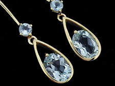 E062- Beautiful Genuine 9ct Solid Yellow Gold Natural Aquamarine Drop Earrings