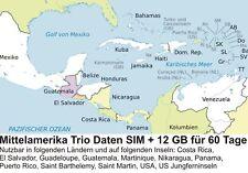 Mittelamerika Daten SIM Karte 12 GB für 60 Tage Standard/Micro/Nano