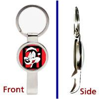 Pepe Le Pew Skunk Pendant or Keychain silver tone secret bottle opener