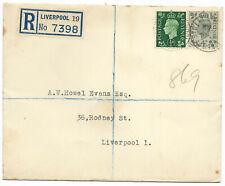 GB 1938 1/2d, 4d sg 462 & 68 FDC [4d] Registered BERRY STREET LIVERPOOL 21 Nov