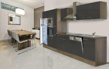 respekta Einbau Küche Küchenzeile Küchenblock 370 cm Eiche York grau Seidenglanz
