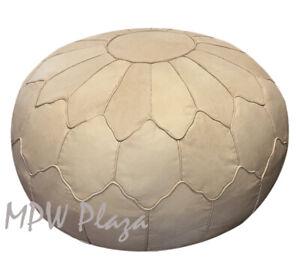 MPW Plaza Pouf, Retro Shell, Natural, Moroccan Leather Ottoman (Un-Stuffed)